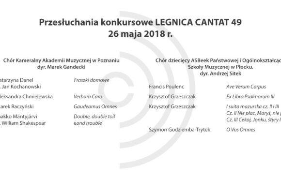 Legnica Cantat 49 – przesłuchania: 26 maja 2018 (część II)