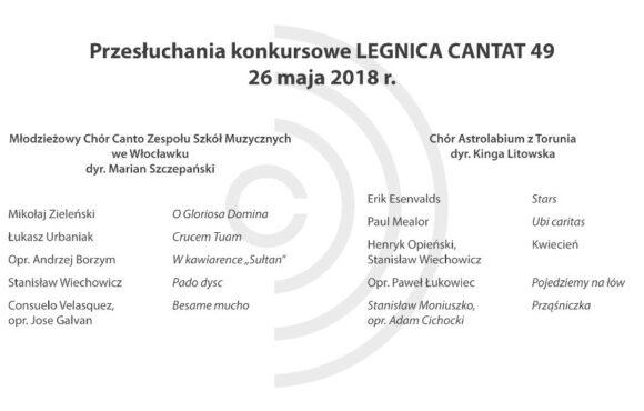 Legnica Cantat 49 – przesłuchania: 26 maja 2018 (część V)