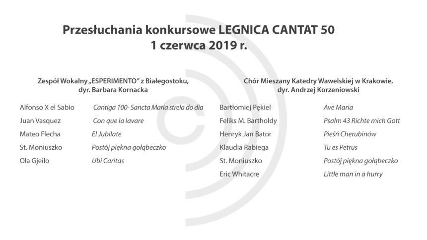 Legnica Cantat 50 – przesłuchania: 1 czerwca 2019 (Część II)