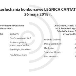Legnica Cantat 49 – przesłuchania: 26 maja 2018 (część III)