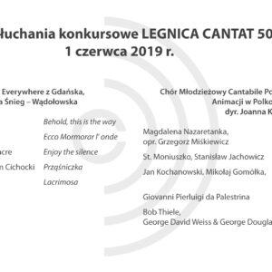 Legnica Cantat 50 – przesłuchania: 1 czerwca 2019 (Część V)